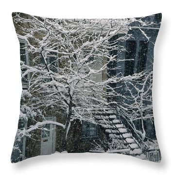 Drolet Street In Winter, Montreal Throw Pillow by Yves Marcoux