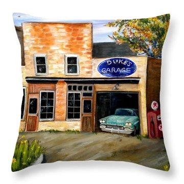 Duke's Garage Throw Pillow