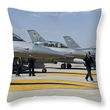 F-16 Pilots Work With Crew Chiefs Throw Pillow by HIGH-G Productions
