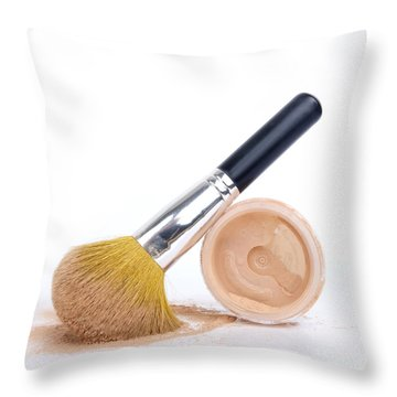 Face Powder And Make-up Brush Throw Pillow by Bernard Jaubert