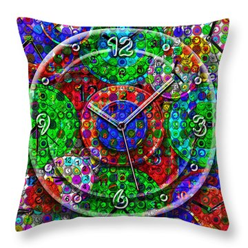Faces Of Time 3 Throw Pillow