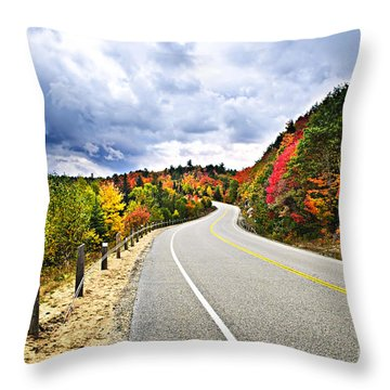 Fall Highway Throw Pillow