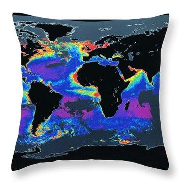 False-col Satellite Image Of Worlds Throw Pillow by Dr. Gene Feldman, NASA Goddard Space Flight Center