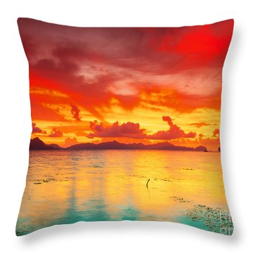 Fantasy Sunset Throw Pillow by MotHaiBaPhoto Prints