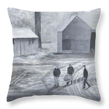 Farm In Black And White Throw Pillow by Stuart B Yaeger
