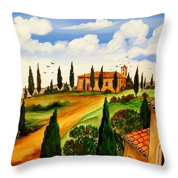 Throw Pillow featuring the painting Fattoria Toscana by Roberto Gagliardi