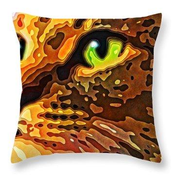 Feline Face Abstract Throw Pillow by David G Paul