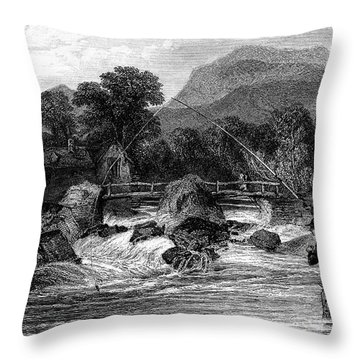 Fishing, 19th Century Throw Pillow by Granger