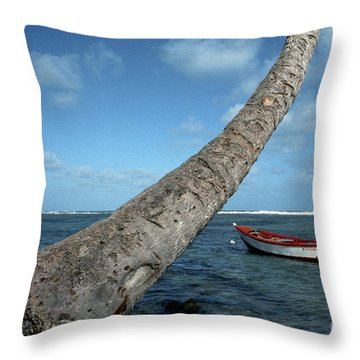 Fishing Boat And Palm Trunk Throw Pillow by Thomas R Fletcher