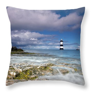 Fishing By The Lighthouse Throw Pillow