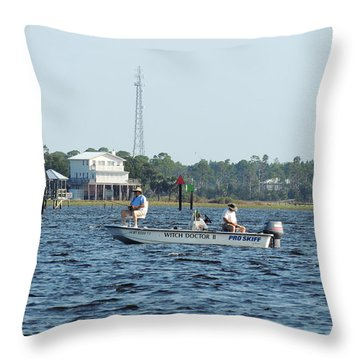 Fishing The Flats Throw Pillow by Marilyn Holkham