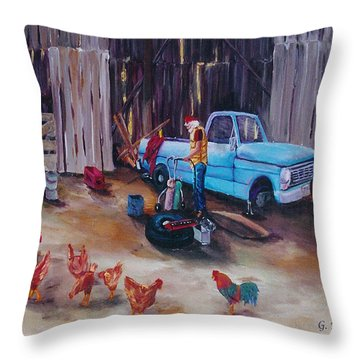 Flat Tire Throw Pillow