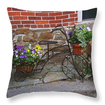 Flower Bicycle Basket Throw Pillow