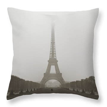 Foggy Morning In Paris Throw Pillow