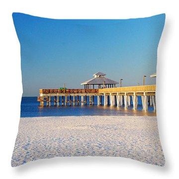 Fort Myers Beach Pier Throw Pillow