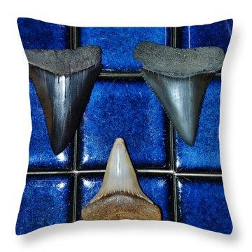 Fossil Great White Shark Teeth Throw Pillow by Werner Lehmann