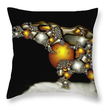 Fractal Elephant Throw Pillow by Julie Grace