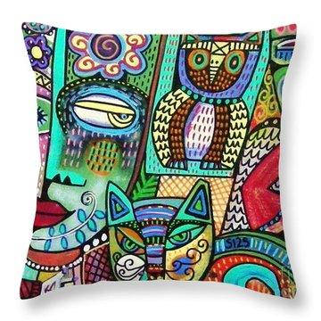 Frida's Garden Owl And Cat Throw Pillow