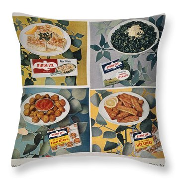 Frozen Food Ad, 1957 Throw Pillow by Granger