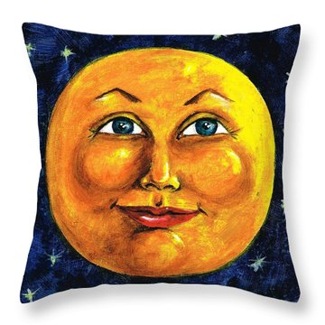 Throw Pillow featuring the painting Full Moon by Sarah Farren