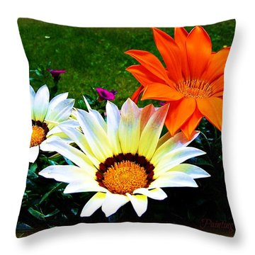 Garden Daisies Throw Pillow
