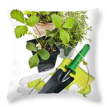 Gardening Tools And Plants Throw Pillow by Elena Elisseeva