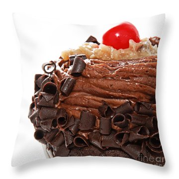German Chocolate Cupcake 3 Throw Pillow by Andee Design