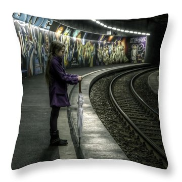 Girl In Station Throw Pillow by Joana Kruse