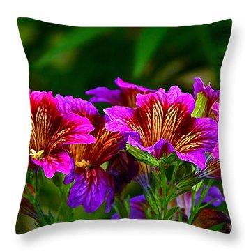 Gleaming In Purple And Gold Throw Pillow by Byron Varvarigos