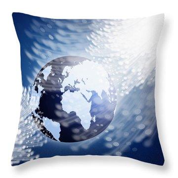 Globe With Fiber Optics Throw Pillow by Setsiri Silapasuwanchai