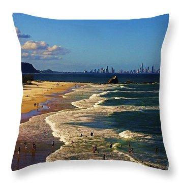 Gold Coast Beaches Throw Pillow