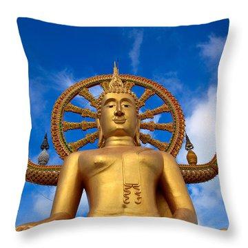 Golden Buddha Throw Pillow by Adrian Evans