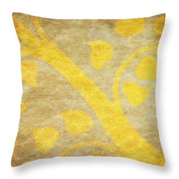 Golden Tree Pattern On Paper Throw Pillow by Setsiri Silapasuwanchai