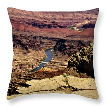 Grand Canyon Colorado River Throw Pillow by Bob and Nadine Johnston