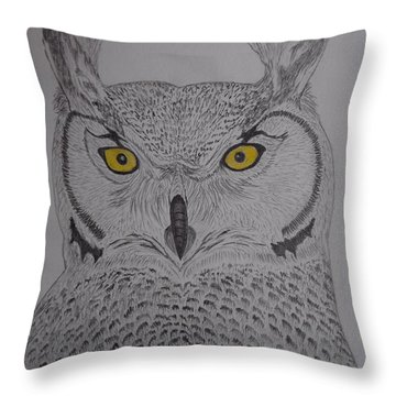 Throw Pillow featuring the drawing Great Horned Owl by Gerald Strine