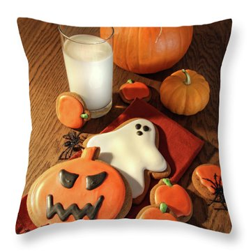 Halloween Cookies With A Glass Of Milk Throw Pillow by Sandra Cunningham