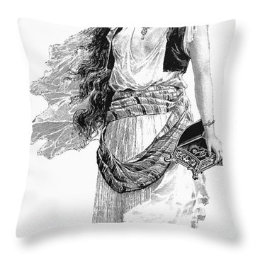 Harem Woman. 19th Century Throw Pillow by Granger