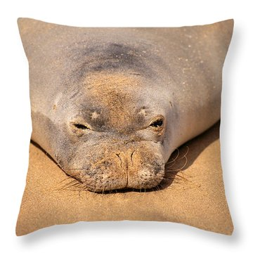 Hawaiian Monk Seal Throw Pillow by Dave Fleetham - Printscapes