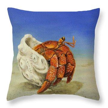 Hermit Crab Throw Pillow by Cindy D Chinn