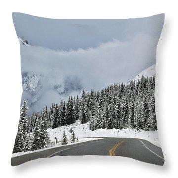 Highway 40 In Winter, Highwood Pass Throw Pillow by Darwin Wiggett