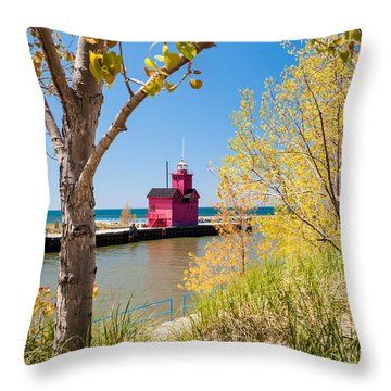 Holland Mi Lighthouse Throw Pillow