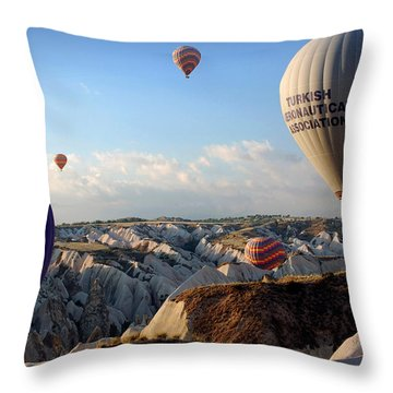 Hot Air Balloons Over Cappadocia Throw Pillow by RicardMN Photography