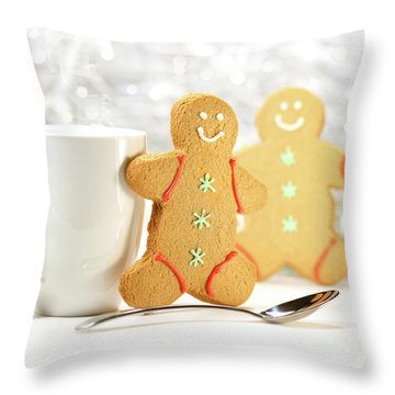 Hot Holiday Drink With Gingerbread Cookies  Throw Pillow by Sandra Cunningham