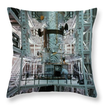Hubble Space Telescope Throw Pillow by NASA/Science Source
