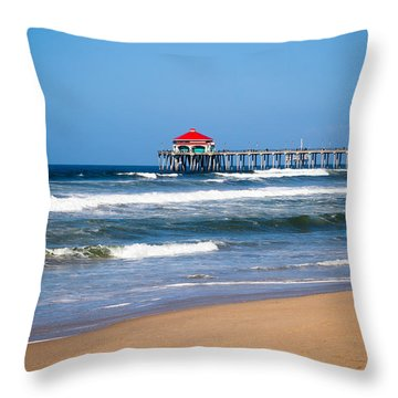 Huntington Beach Pier In Orange County California Throw Pillow by Paul Velgos