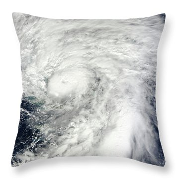 Hurricane Sandy Over The Bahamas Throw Pillow by Stocktrek Images