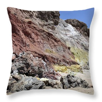 Hydrothermally Altered Red And Yellow Throw Pillow by Richard Roscoe