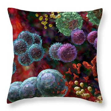 Throw Pillow featuring the photograph Immune Response Antibody 4 by Russell Kightley
