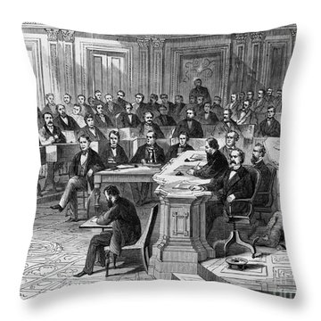 Impeachment Vote Throw Pillow by Photo Researchers