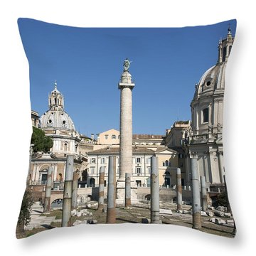 Imperial Fora With The Trajan's Column And The Church Santissimo Nome Di Maria.  Rome Throw Pillow by Bernard Jaubert